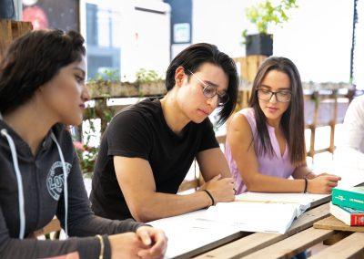 Alumnos leyendo Licenciatura en Mercadotecnia